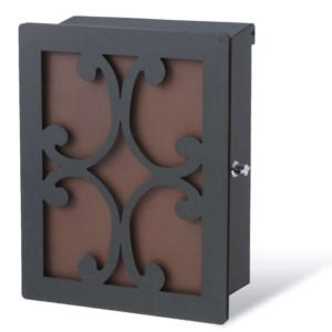 アンデュオ ポスト本体:ブラック・カラーパネル:錆茶・装飾パネル:クロス/ブラック(1)