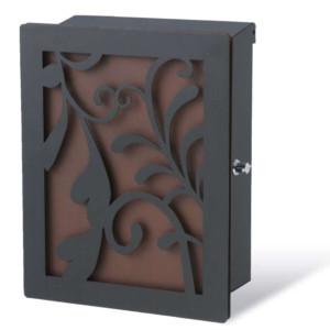 ポスト本体:ブラック・カラーパネル:錆茶・装飾パネル:リーフ/ブラック