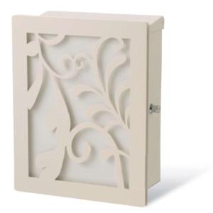 ポスト本体:ホワイト・カラーパネル:ホワイト・装飾パネル:リーフ/ホワイト