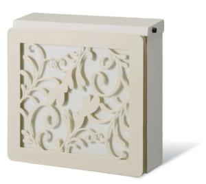 アンマポスト本体:ホワイト、カラーパネル:オフホワイト、装飾パネル:リーフ/ホワイトルカートデュオ 組み合わせ例 (3)