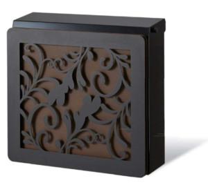 ポスト本体:ブラック、カラーパネル:錆茶、装飾パネル:リーフ/ブラック