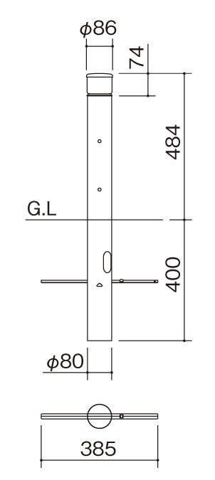 エクステリアライト GLP2型 サイズ