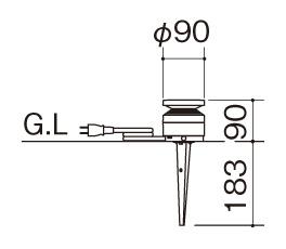エクステリアライトGLD2型 据付図