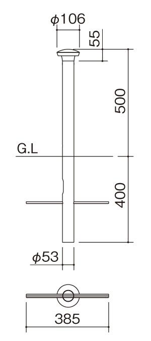 エクステリアライトGLP3型 サイズ