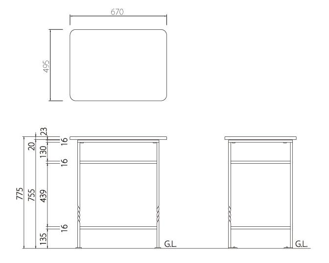 ガーデンテーブル ロココ サイズ
