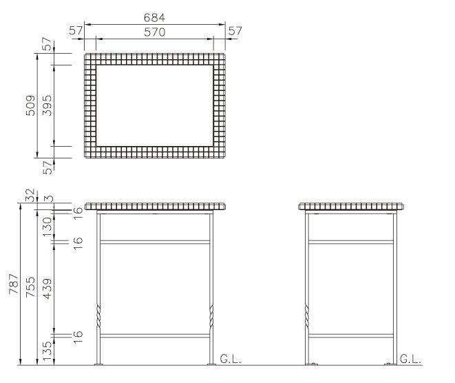 ガーデンテーブル ロココ シャーベット サイズ