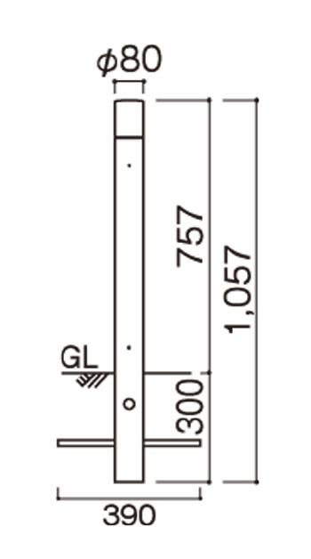 ポージィポールライトLEDUA01005 サイズ
