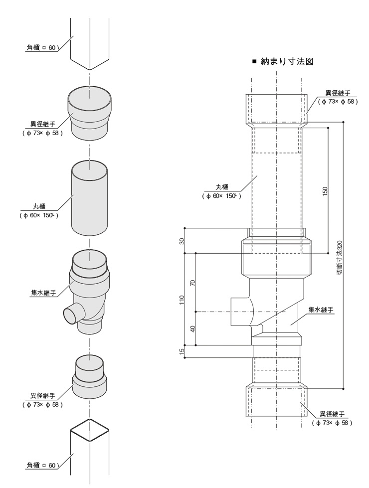 レインキーパーP2型 角樋用取付セット 取付