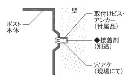 クルム2ポスト 壁面取付時 参考施工図