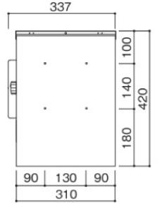 クルム2ポスト 壁面接合部ビス穴位置略図