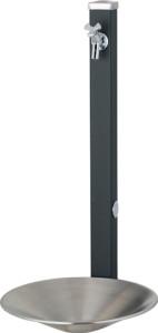 スプレスタンド60左右仕様蛇口1個セット[本体色]マットブラック[セット蛇口]シルバーシャインポットステンレスシルバー組み合わせ例