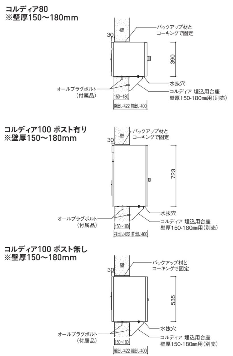 コルディア埋込用台座150~180mm用 参考施工図