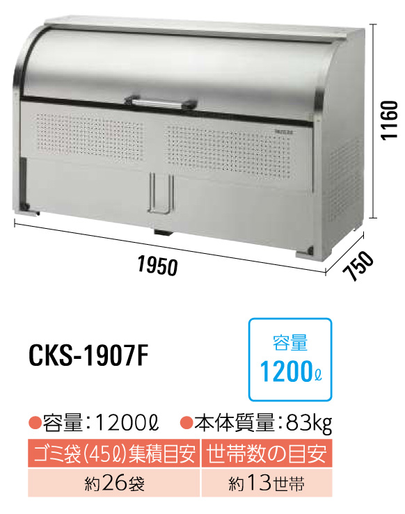 クリーンストッカーCKS-1907F型 サイズ