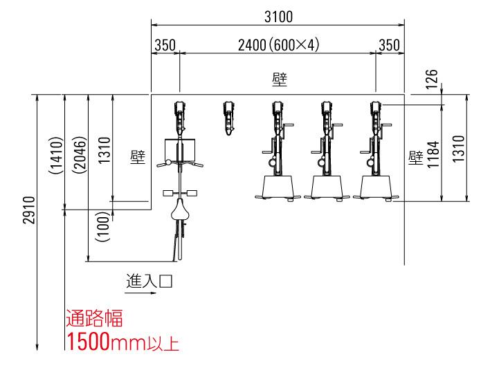 自転車ラック CF-B 平面図